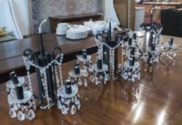 CHANDELIERS, three, black and clear glass, each 44cm H x 46cm.
