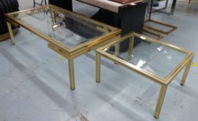 LOW TABLE, attributed to Pierre Vandal, glass top, 106cm x 55cm x 35cm H and a side table to match,