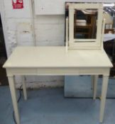 VANITY SUITE, Swedish country house style, white painted table and mirror, 101.5cm x 53cm x 74.5cm.
