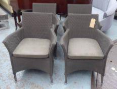 LLOYD LOOM OF SPALDING CHAIRS, a set of four, each with a loose grey seat cushion, 67cm W x 88cm H.