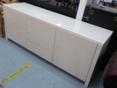 SIDEBOARD, contemporary design white lacquered with frosted glass top, 193cmx 53cm x 75cm.