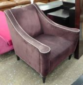 COCKTAIL CHAIR, 1950's Italian style, purple fabric upholstered with white piping, 76cm W.