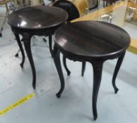 COACH HOUSE SIDE TABLES, a pair, black marble tops on ebonised bases, 64cm H x 60cm D approx.