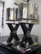 ANDREW MARTIN HUXLEY TABLE LAMPS, a pair, of large proportions, metal shades, 73cm H x 46cm W.
