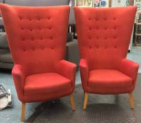 ARMCHAIRS, a pair, Loved Up by Deadgood, with button back salmon upholstery,