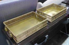 COCKTAIL TRAYS, a pair, 1970's Italian style, 45cm x 25cm x 10cm.