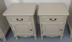 BEDSIDE CABINETS, a pair, French style, grey painted,
