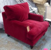 SOFA.COM ARMCHAIR, crimson velvet finish, 85cm approx.