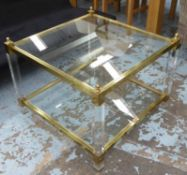 SIDE TABLE, 1970's Italian style, perspex and gilt metal, 70cm x 70cm x 54cm.