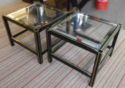 SIDE TABLES, a pair, 1970's French inspired design, 49.5cm x 49.5cm x 38.5cm.