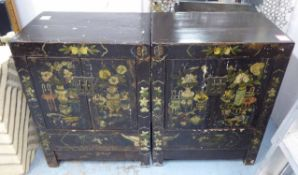 SIDE CABINETS, a pair, Chinese export style, ebonised with pictorial detail, 67cm x 44.5cm x 90cm.