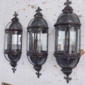 WALL LANTERNS, Regency style, a set of three, 80cm H.
