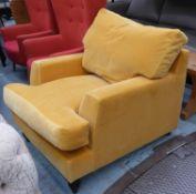 SOFA.COM ARMCHAIR, mustard yellow velvet finish, 85cm H approx.