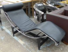 AFTER LE CORBUSIER, PIERRE JEANNERET, AND CHARLOTTE PERRIAND LC4 STYLE CHAISE LONGUE, 160cm L.