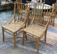 OKA CHAIRS, a set of six with caned seats, each 46cm W x 100cm H.