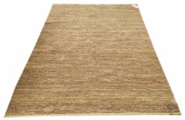 FLOOR RUG, contemporary knotted design, mustard yellow colour, 240cm x 161cm.