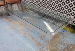 LOW TABLE, contemporary glass and perspex design, 185.5cm x 81.5cm.