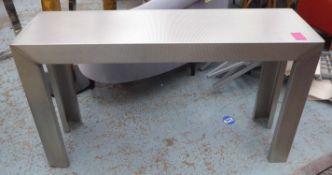 CONSOLE TABLE, bespoke Industrial style, metal, 141cm W x 41cm D x 81cm H.