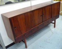 SIDEBOARD, vintage, mid 20th century with four cabinet sections and four drawers below,