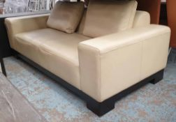 SOFA, cream leather contemporary style, 98cm x 70cm H x 202cm.