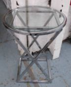 WINE TABLE, French Art Deco style design, tempered glass top, 70cm H.