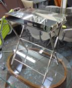 DRINKS TRAY ON STAND, polished metal finish, 65cm x 52cm x 35cm.