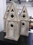 BIRD HOUSES, a set of three, country house style design, 52cm x 20.5cm.