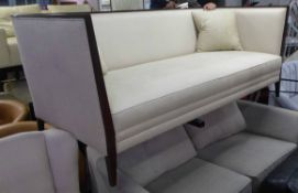 SOFA, contemporary design, ivory upholstered, with two scatter cushions, 200cm W approx.