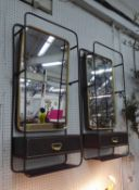 VANITY WALL MIRRORS, a pair, 1920's American inspired design, 100cm x 40cm.