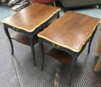 SIDE TABLES, a pair, French Provincial design, with grey painted bases,