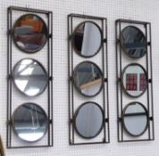 MAKE UP COUNTER MIRRORS, a set of three, each with three revolving mirrors, 1960's French style,