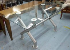 TABLE, Industrial style, the glass top on tubular metal supports, 160cm L x 80cm D x 77cm H.