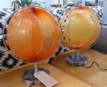 TABLE LAMPS, a pair, contemporary orb design, 41cm H.
