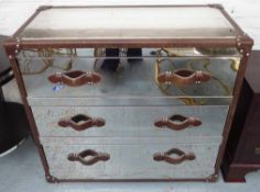 ATTRIBUTED TO ANDREW MARTIN HOWARD STEEL AND LEATHER CHEST OF DRAWERS, 100cm x 50cm x 90cm.