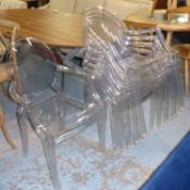 KARTELL LOUIS GHOST CHAIRS, a set of six, by Phillipe Starck, 95cm H.