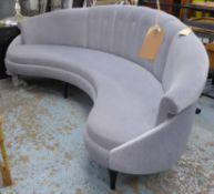 BEN WISTLER SOFA, kidney shaped, grey velvet finish, 235cm W approx.