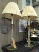 VAUGHAN COLESHILL CANDLESTICK TABLE LAMPS, a pair, with pleated shades, 67cm H.