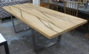 DINING TABLE, contemporary design, with veined inlaid detail,
