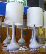 PORTA ROMANA GRACE LAMPS, a pair, with shades, 83cm H approx.