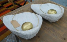 GINGER AND JAGGER PEAL WALL LAMPS, a pair, 55cm x 39cm.