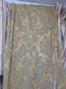 CURTAINS, a pair, gold damask, lined, each curtain 258cm W gathered by 323cm drop and another