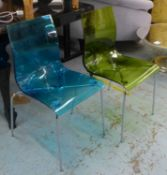 DINING CHAIRS, a set of six in various colours, 86cm H. (6)