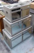 MIRRORED TRUNKS, a set of three, silver faux crocodile detail, largest 78cm W, middle 68cm W,