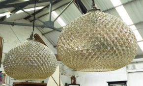 CEILING PENDANTS, a pair, contemporary faceted glass shades, 86cm drop approx. (2)