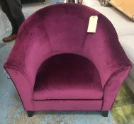TUB CHAIR, in crimson velvet upholstery with wave patterned detail on splayed legs, 80cm W x 70cm