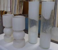 VASES, a collection of four, two pairs of differing designs, 50cm at tallest. (4) (slight faults)
