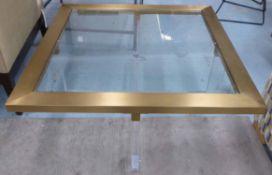 PURE WHITE LINES SQUARE SARDINIA BRASS COFFEE TABLE, 120cm x 120cm x 41cm.