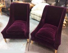 LOUNGE CHAIRS, a pair, contemporary purple velvet finish, 93cm H. (2) (slight faults)