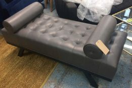 END BENCH, grey buttoned leather with two fixed bolster cushions, 150cm L x 60cm D x 63cm H.