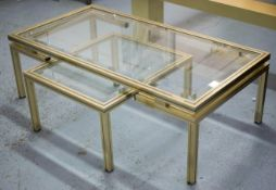 LOW TABLE, attributed to Pierre Vandal, glass top, 106cm x 55cm x 35cm H and a side table to